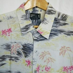 Mens button down Hawaiian shirt aloha size L